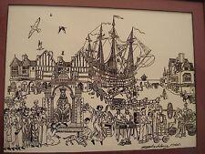 "Original Ink Etchings 1980 signed Sid Blackburn ENG 8""x10""Ship Reniassance NTL"