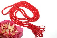ANTIQUE VICTORIAN RED SEED BEAD GLASS LONG LARIAT PHENOMENAL NECKLACE NG5