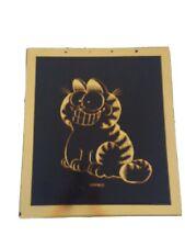 "Vintage RARE Garfield  Metal Art Sign 18"" x 16"" Black & Gold Sign"