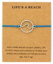 -UK- New Blue 'Life's a Beach' Wave Leather Rope Bracelet Nautical Silver