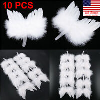 10PCS Angel White Feather Wing Christmas Tree Decor Hanging Ornament Wedding