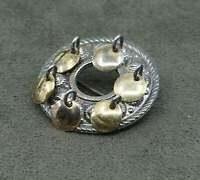 Norway Scandinavian handmade sterling 925 silver brooch with brass disk