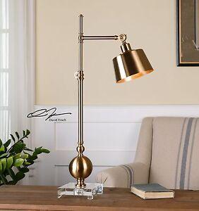LATON TASK BRUSHED BRASS TABLE DESK LAMP CRYSTAL BASE ADJUSTABLE SHADE UTTERMOST