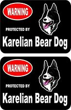 2 protected by Karelian Bear dog car home window vinyl decals stickers #C