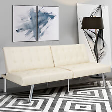 Modern Sleeper Leather Sofa Bed Convertible Lounge Couch Living Room Futon Beige