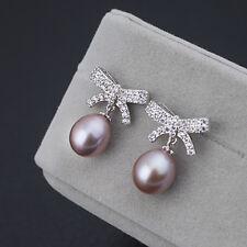 Boucles d`Oreilles Perle de Culture Violet Argent Sterling 925 Noeud Argenté