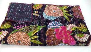 Indian Handmade Floral Print Quilt Twin Kantha Bedspread Cotton Blanket Gudari