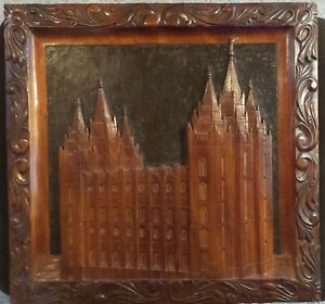 VINTAGE RELIEF SCULPTURED HAND CARVED FOLK ART BRIGHAM YOUNG MORMON TEMPLE