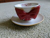 Disney Store Minnie Mouse Signature Collection Bow Cup & Saucer Tea Set