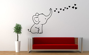 Elephant Love & Hearts Decor Home Wall Decal Sticker L24