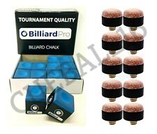 """12 PIECES """"BOX"""" PRO TOURNAMENT BLUE SNOOKER POOL CUES CHALKS & 10 x 11mm TIPS"""