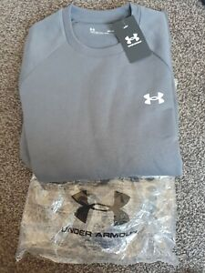 Under Armour Mens Rival Grey Medium  Fleece Crew Neck  Jumper Sweatshirt Top