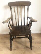 Antique Elm Seated Slat Back Carver Chair