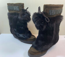 COACH MARYANN Rabbit Fur Beaded Pom Pom Suede Boots MADE IN ITALY ~RARE!!!