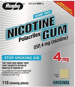 RUGBY SUGAR-FREE NICOTINE GUM 4MG - ORIGINAL - 110 PIECES