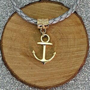 Gold Plated Anchor Drop Charm fit For European Charm Bracelets