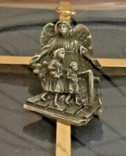 """GUARDIAN ANGEL WALL CROSS""  James Brennan 7"" H Brass/Pewter Center  NEW  in box"