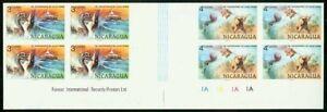 Nicaragua 1978 Jules Verne 3c/4c SE-TENANT PROOF BLOCKS