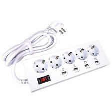 5-fach Steckdosenleiste mit Überspannungsschutz 4x USB-Port Ladestation Schalter