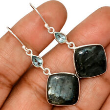 Larvikite Stone - Norway & Blue Topaz 925 Silver Earring Jewelry AE130998