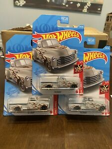 HOT WHEELS '52 CHEVY PICKUP TRUCK GRAY NEW  N CASE HW FLAMES! LOT OF 3