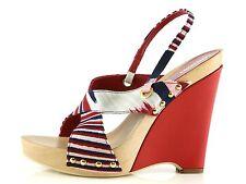 MISSONI OLONA Red Striped Wedge Heels 8868 Size 39 EU NEW!