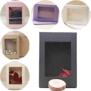 1Pc Wedding Gift Package Display Box Krafts Paper Window Clear PVC Candy Boxes