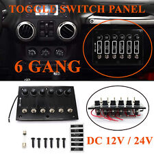 Classic 6 Gang DC 12/24V 15A Fused ON/OFF Toggle Switch Panel For Marine Boat RV