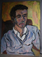 Vintage American Modern male Portrait Painting Handsome Young Man Janet Bosse