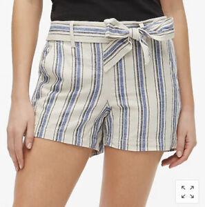 "J. Crew Blue & White Striped Shorts Linen/Cotton Blend 5"" Inseam Size 8 $59 NWT"