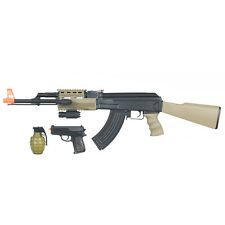 CYMA AK-47 ELECTRIC AEG FULL AUTO AIRSOFT RIFLE GUN w/ PISTOL BB GRENADE LASER