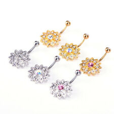 Hot Crystal Rhinestone Belly Button Ring Jeweled Flower Body Piercing Jewelry WK