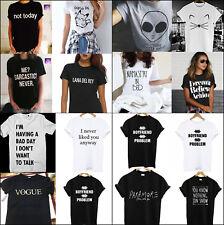 Women Men Short Sleeve T-Shirts Girls Casual Tee Tops White Black Tumblr shirts