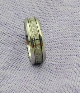 Men's~~Size 14~~Very Nice Titanium Band with Channel Set Rhinestones All Around