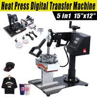 "Ridgeyard 15x12"" 5in1 Heat Press Machine Transfer T-Shirt Cap Mug Plate Printer"