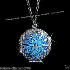Blue Glow In The Dark Silver Necklace Xmas Gift For Her Wife Girl Couples Women