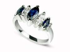 Anniversary Ring/Right Hand Ring 14 White 1.92 Carat Marquise Diamond & Sapphire
