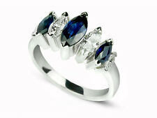 1.92 Carat Marquise Diamond & Sapphire Anniversary Ring/Right Hand Ring 14 White
