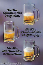 POSTER: BEER:  OPTIMIST / PESSIMIST  -  FREE SHIP ! #2633  LC15 M