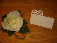50 Pearlescent shimmer IVORY CREAM HEART Wedding Place Name Cards party birthday