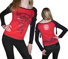 Gothic camisa t-shirt punk emo King Skull calavera tachuelas huesos tul M L Top