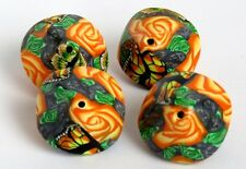4 pieces, Bi-cone beads, Rose beads, artisan beads, clay Beads, orange beads.