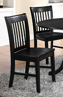 Set of 2 Norfolk dinette kitchen dining chairs with plain wood seat in black