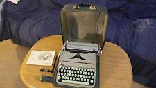 Green Hermes 2000 Swiss Portable Typewriter Paillard Switzerland W/ Case & Brush