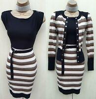 UK 10 Karen Millen 2 Black Stripe Fine Knit Bodycon Jumper Dress & Cardigan