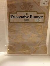 "Decorative Table Runner Bardwil Linen 54"" Metallic Gold Teddy Bears"