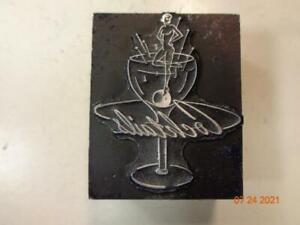 Printing Letterpress Printer Block Decorative Lady In Cocktail Glass Print Cut