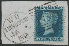 1857 SG35 2d BLUE PLATE 6 FULL EDINBURGH DUPLEX CANCEL ON PIECE (OG)