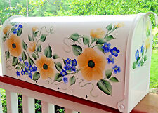 Hand Painted Mailbox FREE SHIPPING Post Mount Yellow Wild Roses Flowers