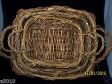 """Basket Set of 3 Rectangle Nested Double Handle Bathroom, Fruit Gift  12""""-18"""" NEW"""